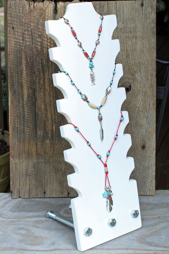 Multi Tiered Necklace display 22 tall and 7.25 by RusticLodgeDecor, $32.00