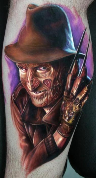 Freddy tattoo by Paul Acker http://www.shadedtattoos.com/