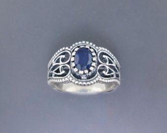 TG 7 ametista Vintage diamante anello anello in di Steampunkitis