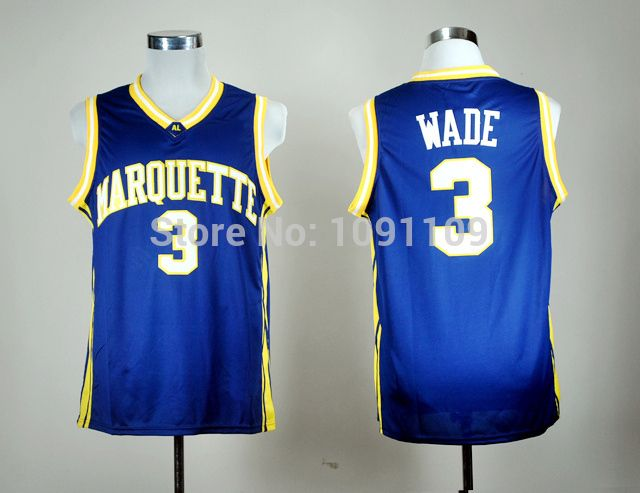Find More Sports Jerseys Information about Dwyane Wade 3 Marquette College Jersey, Marquette #3 Dwyane Wade NCAA Jersey Embroidered Logos, Free Shipping,High Quality logo contests,China jersey merida Suppliers, Cheap jersey channel from Jerseys World's store on Aliexpress.com