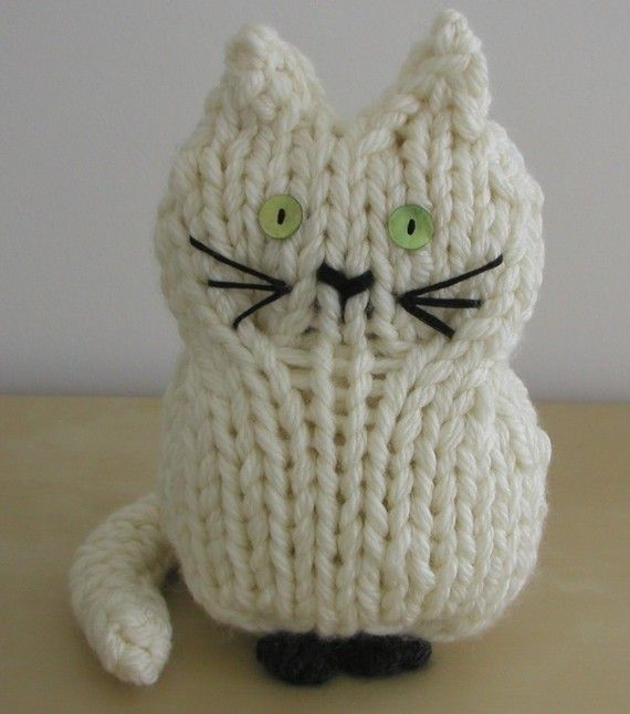 Knitting Pattern for Toy Cat - #ad Quick knit in super bulky yarn. Pictured cat is 10 inches tall. Two other sizes 12 inches and 14 inches. More pics at Etsy tba