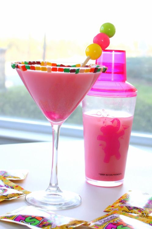 """partyteacher: """"Bubble Gum Martini Ingredients & Measurements: • 2 shots Whip Cream • 1 shot Milk • 2 shots Bubble Gum Vodka • Gumballs • Chiclets Instructions: Pour the cream, milk, and vodka into a shaker with ice. Shake and strain into a martini..."""