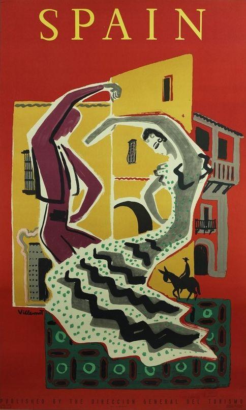 IL Travel poster by Villemot, 1953, Spain.