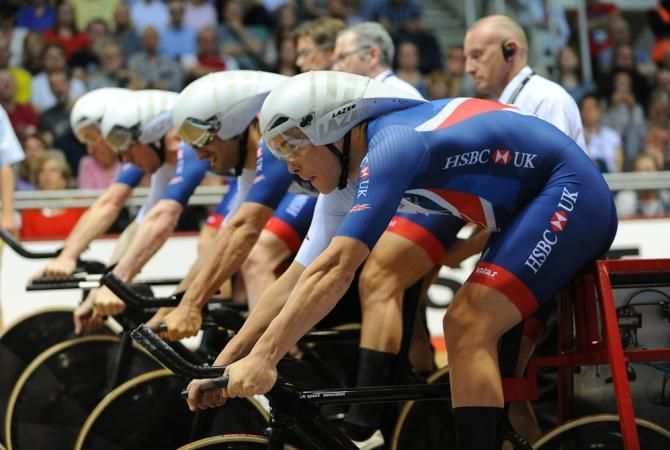Steven Burke of Great Britain in the blocks before he competes in the Mens Final Pursuit during the TISSOT UCI Track Cycling World Cup