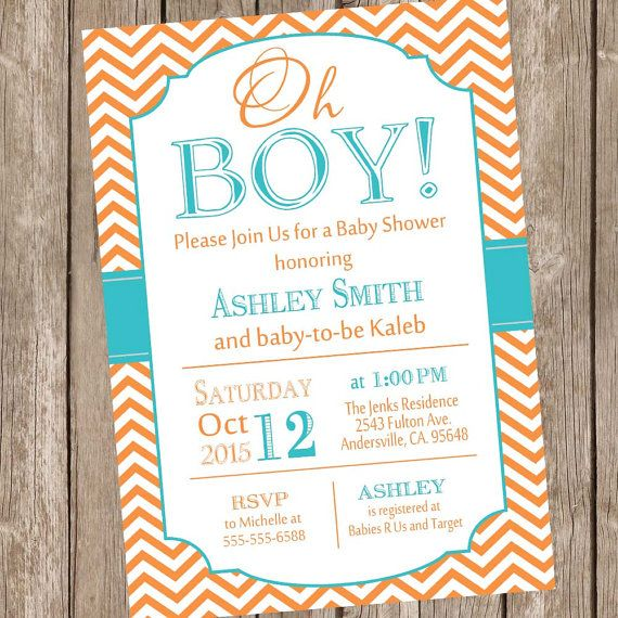 oh boy baby shower invitation orange and teal baby shower invitation chevron baby shower