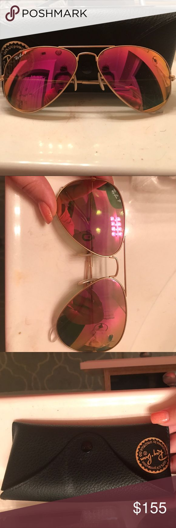Polarized Flash Lens Ray-bans These have been worn a few times. They don't have any wear or tear at all. The lenses are scratch free. These are pink flash lenses and polarized. Amazing glasses. Black Ray-ban case and cleaning cloth included. Ray-Ban Accessories Sunglasses