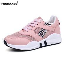Fooraabo 2017 Lüks Marka Nefes Tenis Feminino Kadınlar Rahat Ayakkabılar Yaz Beyaz Pembe Işık Yürüyüş Ayakkabıları Kadın Krasovki(China (Mainland))