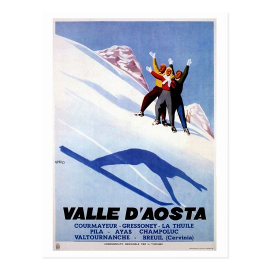 Vintage winter sports Italian Alps travel Postcard
