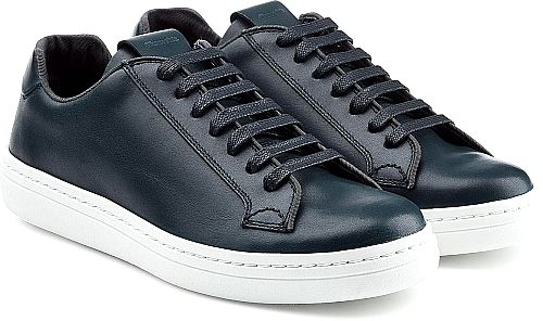 Church's Shoes - Master of quality British shoes, Church's turns to a modern leather sneaker silhouette. Built with the meticulous construction the brand specializes in, the neat navy leather upper keeps the look ultimately polished. - #church'sshoes #blueshoes