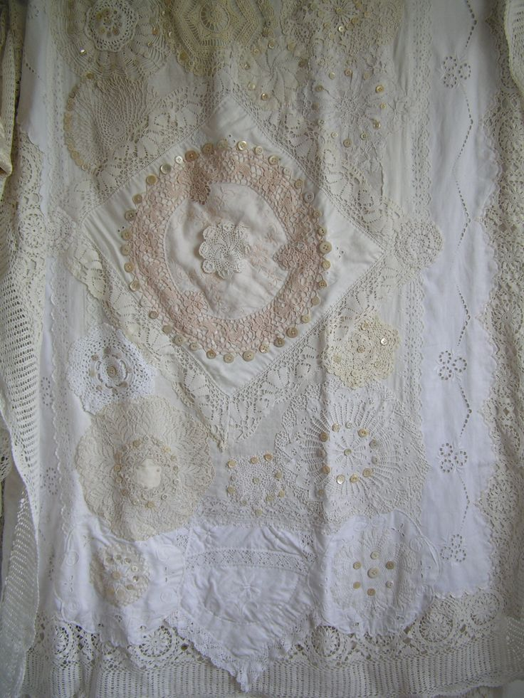 Old Linen Old Lace Vintage Buttons On A Tablecloth My