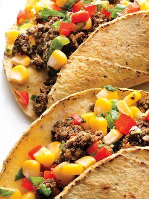Black Bean Tacos with Corn Salsa Recipe at Epicurious.com