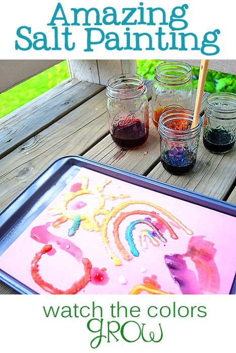 Amazing Salt Painting - Watch the colors grow! Kids are amazed at the spreading colors! What you need: Elmer's School Glue, table salt, food coloring, water paint brush, construction paper or cardstock. #preschool #kidscrafts #efl #education (pinned by Super Simple Songs)