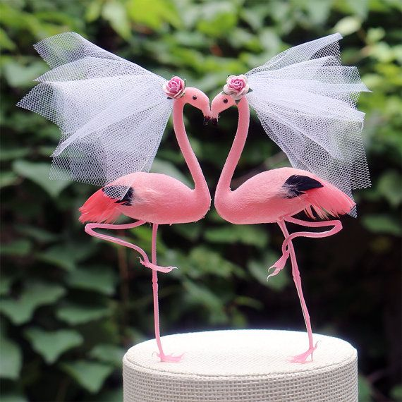 Onze Bruid & bruid roze Flamingo bruidstaart Topper in Paradise roze is…