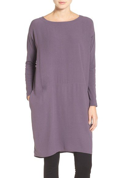 Eileen Fisher Silk Crepe Georgette Bateau Neck Tunic available at #Nordstrom