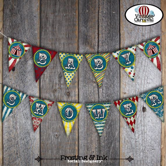 Carnival Baby Shower - Circus Baby Shower - Bunting Banner - Customized Printable - A La Carte (Vintage Inspired)