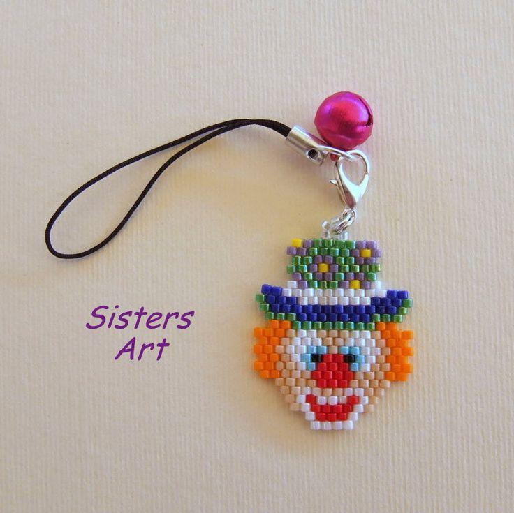 """Ciondolo """"Clown"""" per USB realizzato con perline Miyuki delica"""