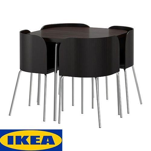 IKEA イケア ダイニングセット テーブル チェア4脚 FUSION ブラウンブラック クロムメッキ 送料無料 通販 001.768.34【楽天市場】