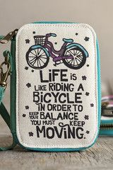 Natural Life Wristlet Purse: 'Life Is Like A Riding A Bicycle'