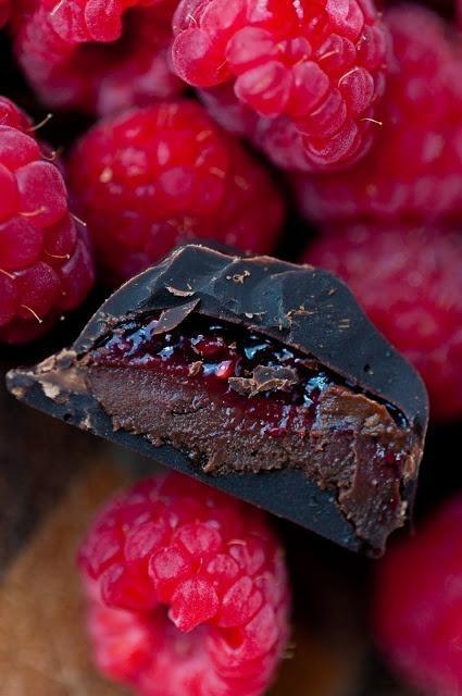 Passionfruit-coconut dark chocolate ganache   Raspberry mocha dark chocolate ganache   dessertsforbreakfast.com