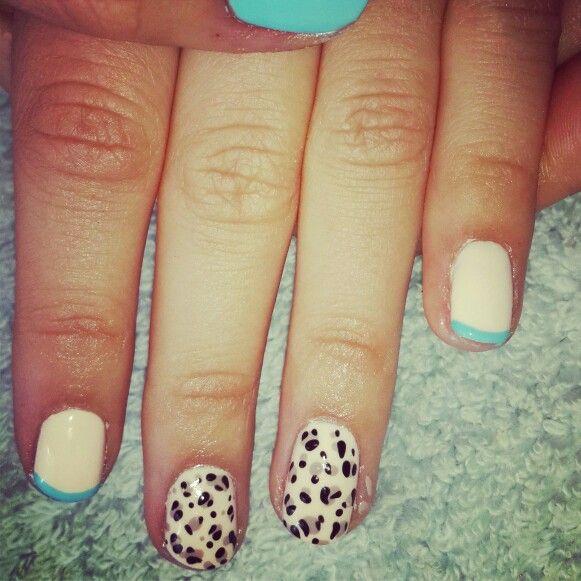 #nailart #nails #animalprint #funky #white#beige#blue#frenchblue#funky#gelish