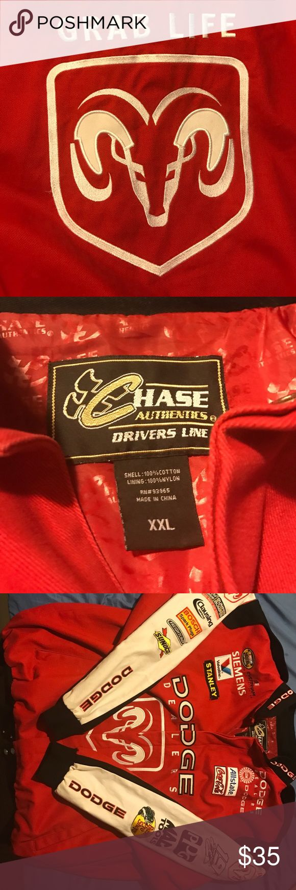 Dodge NASCAR jacket 2XL red Grab life by the horn!!! Up for sale is my old racing jacket. chase Jackets & Coats