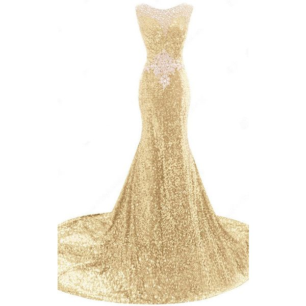 Scoop Neck Gold Tulle Sequined Court Train Crystal Trumpet Mermaid... ($318) ❤ liked on Polyvore featuring dresses, prom dresses, gold cocktail dress, long cocktail dresses, sequin prom dresses and long sequin dress