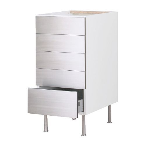 Stainless Steel Kitchen Cabinets Lucknow: FAKTUM Base Cabinet With 5 Drawers