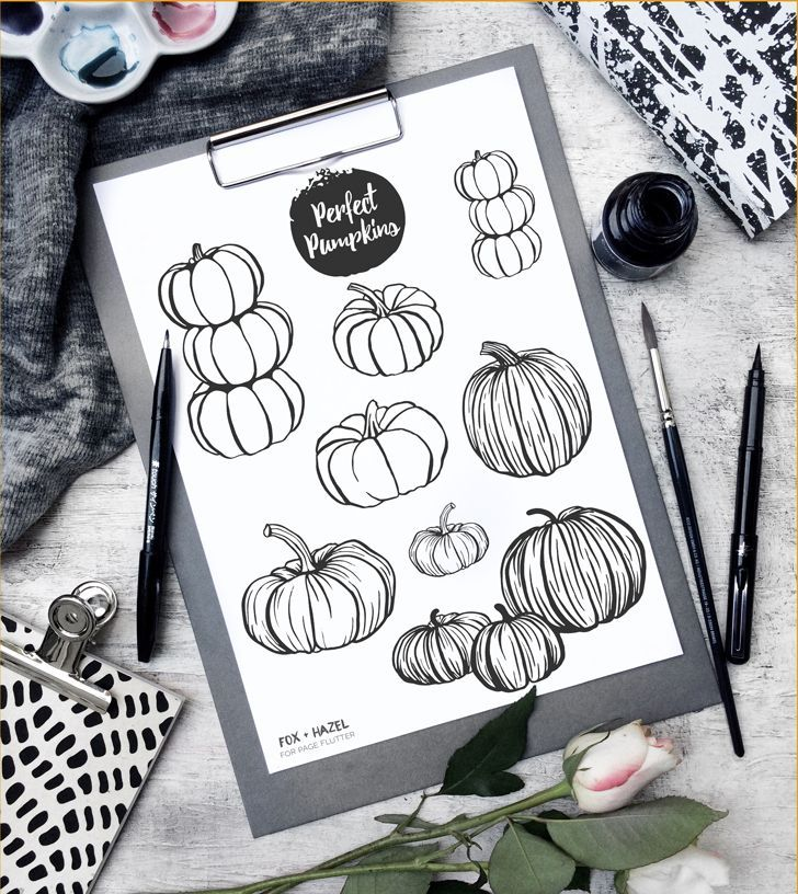 I'm just popping in today to share this free set of pumpkin illustrations for you! I created them for a fun fall themed art journal page I did on my YouTube channel for Page Flutter, which you can check out here