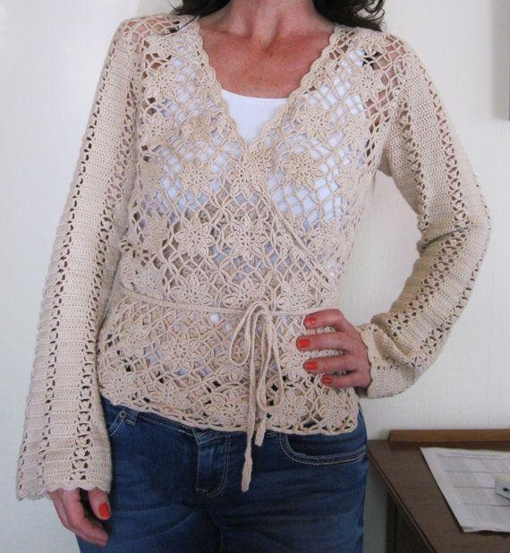 Vintage boho crochet cardigan