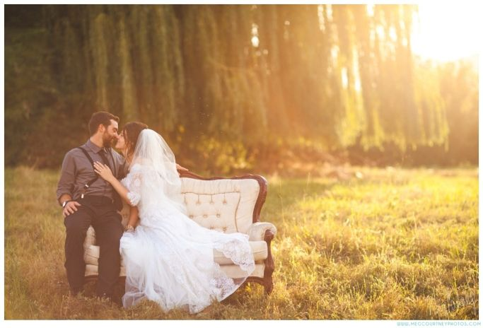 Fairytale wedding... sunset with a old vintage couch in her grandma's wedding dress.. <3  meg courtney photography