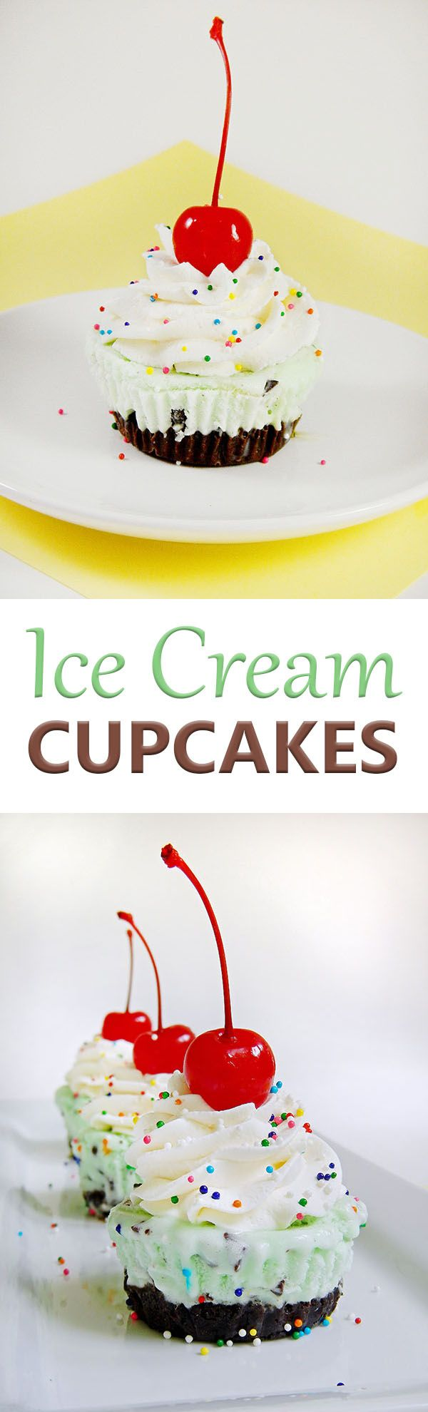 Ice Cream Cupcakes Mini ice cream cakes with crushed cookie crusts and homemade whipped cream. A great no-bake treat for Birthday parties and summer events.