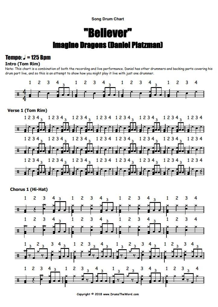 Believer Imagine Dragons Free Pdf Drum Sheet Music Drum Notation Daniel Platzman Drum Sheet Music Imagine Dragons Drum Lessons