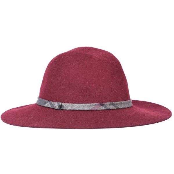 Women's Barbour Dalton Fedora Hat - Merlot ($38) ❤ liked on Polyvore featuring accessories, hats, block hats, barbour, plaid hat, barbour hats and band hats