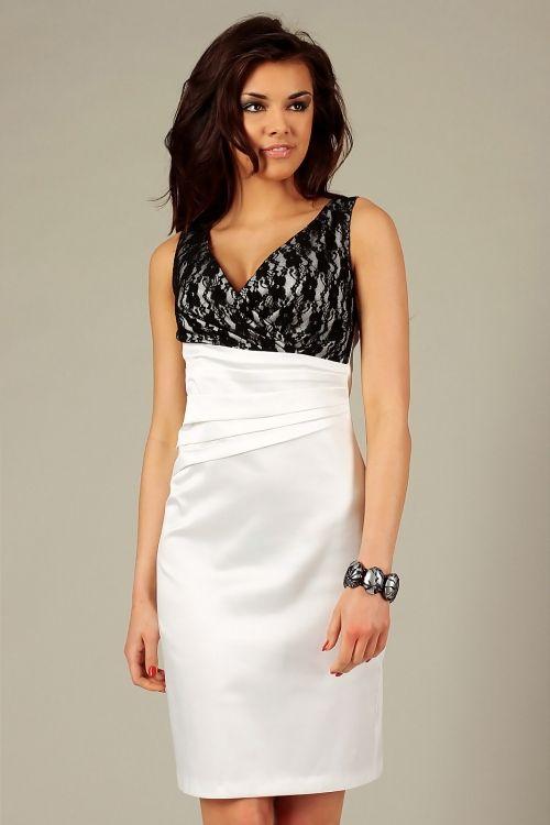 Wieczorowa satynowa elegancka sukienka z koronką ecru