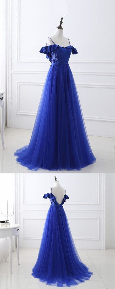 Sexy Spaghetti Straps A-Line Prom Dresses,Long Prom Dresses,Cheap