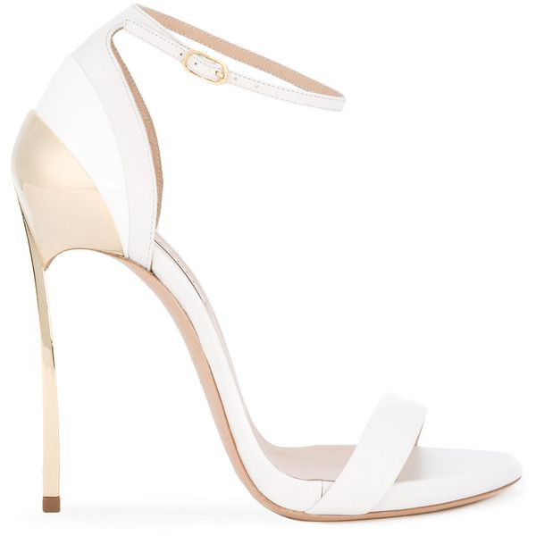 Casadei metallic detail sandals ($811) ❤ liked on Polyvore featuring shoes, sandals, sandales, white, casadei, white shoes, white sandals, casadei sandals and casadei shoes