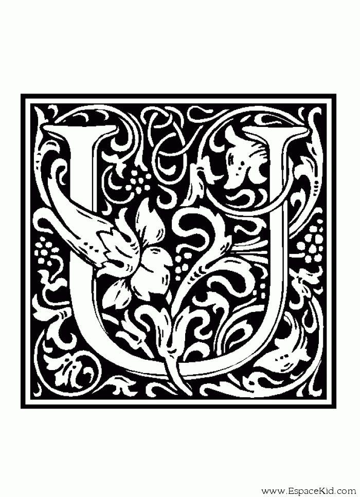 Coloriage lettre u coloriages lettrine 907 alphabet coloriage letters pinterest alphabet - Coloriage moyen age maternelle ...