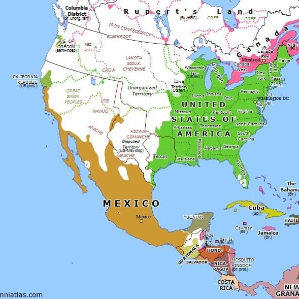 North America 171 years ago today: Oregon Treaty (15 Jun 1846) http://omniatlas.com/maps/northamerica/18460615/ War with Mexico encouraged President Polk to settle the Oregon dispute between the US and Britain. In June both countries agreed to the division of Oregon Country along the 49th parallel, with Vancouver Island falling to Britain.