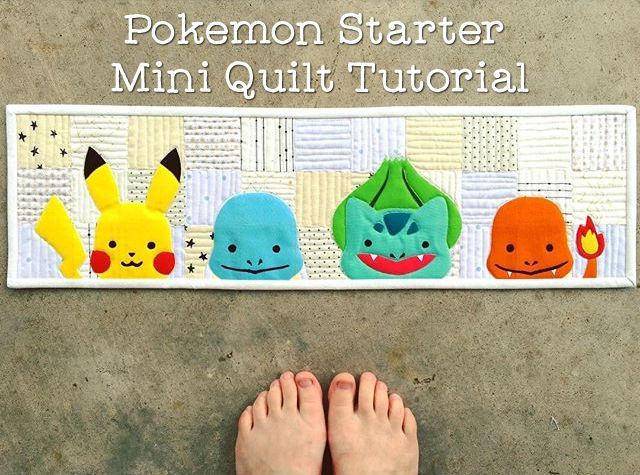 """I post my impromptu Pokemon starter mini quilt yesterday on Instagram and today I'm sharing a tutorial so you can make your own! You will need: (33) 2.75"""" low volume squares Scraps of fabric for your"""