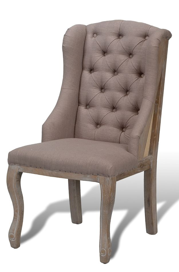 "ufted deconstructed high back dining chair upholstered in gray linen fabric with natural stain on legs.   22w 29d 42h, Seat height 19.5""-460 Harrison Avenue Boston, MA 02118 - For more info call: (617) 210-7900 we are also opened 11-7pm daily if you would like to just stop in."