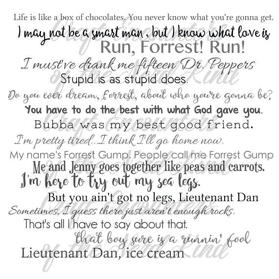 Forrest Gump movie quotes - pillow cover 18x18inch - movie quotes - movies - washable pillow cover - fiber arts - home textiles - eco inks These movie quote pillows are great for any filmophile! Give them as a gift or keep them for yourself, but no matter what, they're sure to be a