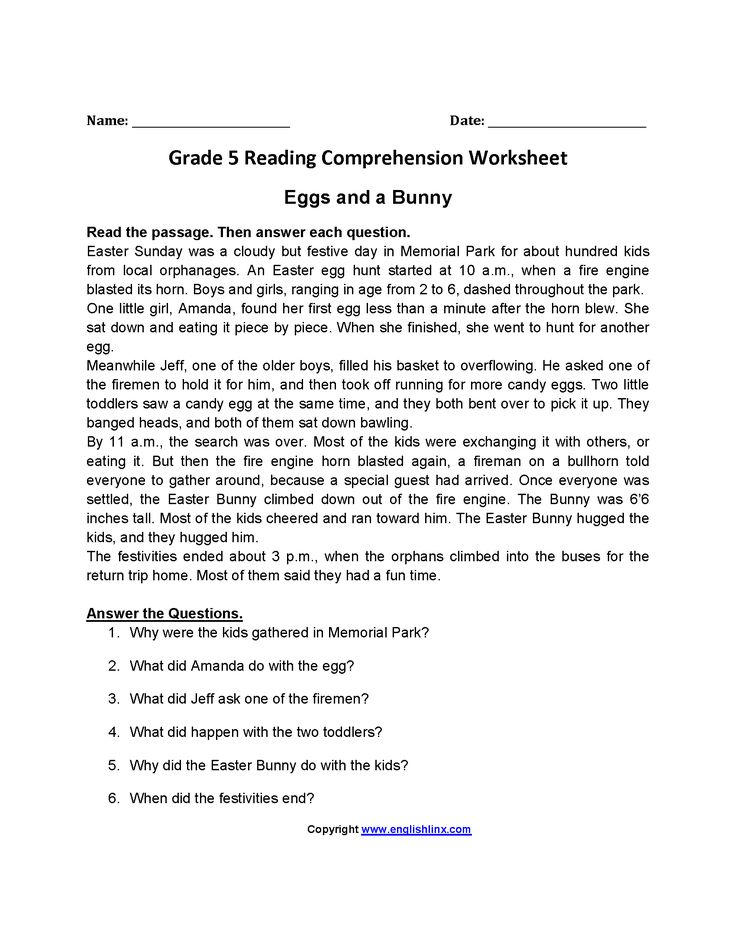 Eggs And A Bunny Fifth Grade Reading Worksheets