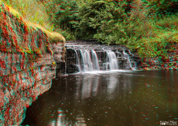 Aluoja waterfall 3D Anaglyph photo (Red-Cyan)