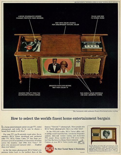 1964 Ad, RCA Victor Color Television Hi-Fi Stereo Console - this was The entertainment center back in the day