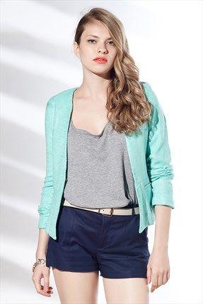 Zanzi - Turkuaz Jakarlı Ceket #SLN #istanbul #Turkey #moda #fashion #style #shop #boutique #sale #design #blouse #dress #jacket #jacquard