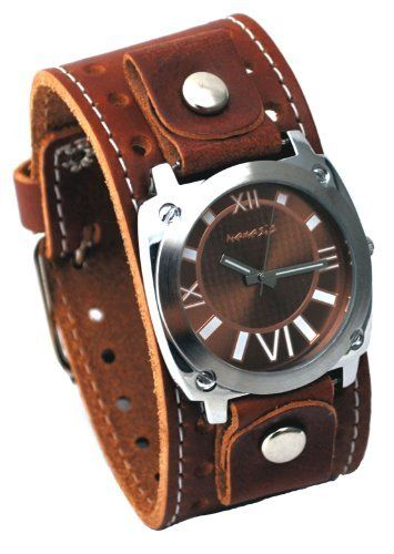 Nemesis #BSTH066B Men's Brown Textured Dial Wide Leather Cuff Band Watch Nemesis. $39.97. Stainless Steel Case Back with Genuine Wide Leather Strap. Case Size:  41mm Diameter, 9mm Thickness. Precise Japan Quartz Movement. Water Resistant - 10M. Mineral Crystal, Luminous and Markers. Save 39% Off!