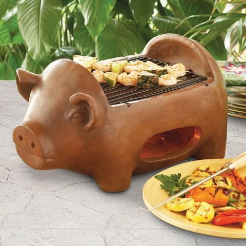 Crafted of terracotta clay for its unique heat retention properties, our exclusive pig-shaped grill is perfect for barbecuing in the backyard or taking to outdoor events. Pick up this affordable, compact and lightweight grill for casual weeknight entertaining, camping trips and tailgate parties.