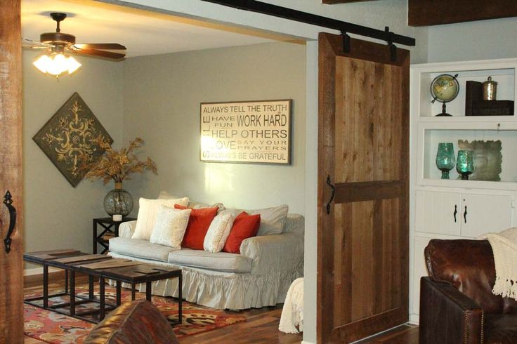 Barnwood track doors for guest room- would be perfect for basement room