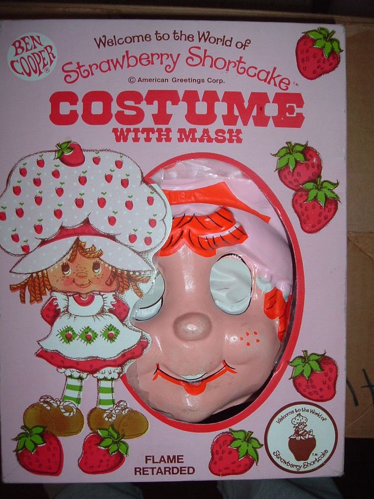 Vintage 1980's STRAWBERRY SHORTCAKE Costume & Mask - size 8-10