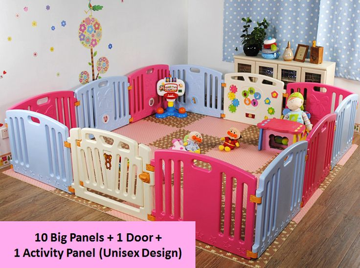 Baby Play Yard (10 Big Panels + 1 Activity Panel + 1 Door). The play yard set comes with 5 big blue panels, 5 big rose red panels, 1 activity panel and 1 door panel. Unisex design. Big Panel Dimensions: 60cm (H) by 80cm (L). Activity Panel Dimensions: 60cm (H) by 80cm (L). Door Panel Dimensions: 60cm (H) by 80cm (L). Suitable for babies aged 1/2year old onwards.
